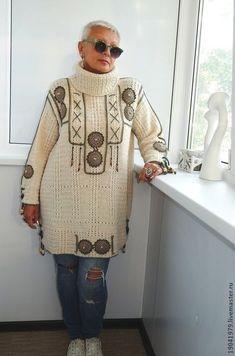 "ТУНИКА МЕЖСЕЗОННАЯ В СТИЛЕ ""ФОЛК"".КРЮЧОК. - белый,однотонный,альпака,Декор Crochet Fabric, Freeform Crochet, Irish Crochet, Crochet Top, Crochet Patterns, Pullover, Crochet Jacket, Irish Lace, Crochet Fashion"