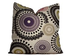 Suzani Pillow Cover in Black Purple Olive by StitchedNestings, $45.00