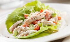 Protein-Packed Lettuce Wraps: Start with chicken or tuna salad. Spoon into butter lettuce and serve. No cooking! Salsa Chicken, Chicken Lettuce Wraps, Chicken Salad Recipes, Avocado Chicken, Asian Chicken, Chicken Legs, Recipe Chicken, Chicken Breasts, Spicy Fish Tacos