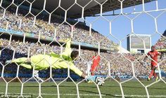 Finish: Swiss keeper Diego Benaglio could do nothing to stop the ball from going in...