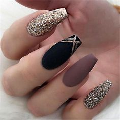 Black Matte Nail Designs Ideas matte nails for fall simple matte nailschic nail designs Black Matte Nail Designs. Here is Black Matte Nail Designs Ideas for you. Black Matte Nail Designs gorgeous metallic nail art designs that will shimme. Cute Acrylic Nails, Matte Nails, Acrylic Nail Designs Coffin, Acrylic Nails Stiletto, Winter Nail Art, Winter Nails, Holiday Nail Art, Cute Nail Designs, Easy Designs
