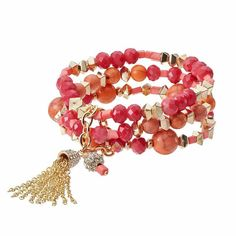 Red Bead Tassel Multi Strand Stretch Bracelet, Pink Other