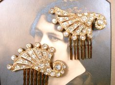 1920s Art Deco Rhinestone Gold Bridal Hair Comb PAIR, 2 Paved Crystal Small Antique Dress Clips to OOAK Accessories GATSBY Vintage Wedding 1920s Art Deco Rhinestone Gold Bridal Hair Comb by AmoreTreasure