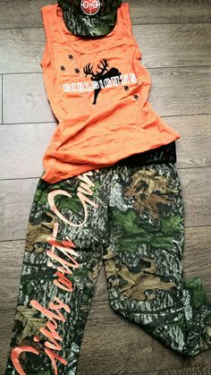GWG @mossyoak Obsession Camo Capris & Blaze Orange Burnout Tank! Girls with Guns Clothing www.gwgclothing.com