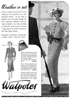 Walpoles fashion advertisement, May 1937. #vintage #1930s #fashion #dress