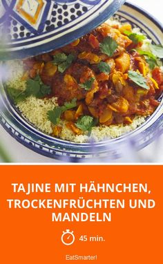 Tajine with chicken, dried fruit and almonds - Tagine with chicken, dried fruit and almonds – smarter – time: 45 min. Hamburger Meat Recipes, Chicken Recipes, Indian Food Recipes, Healthy Recipes, Ethnic Recipes, Couscous, Morrocan Food, Tagine Recipes, Food Design