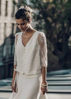 La mariée aux pieds nus - Laure de Sagazan - Robes de mariée - Collection 2016 - Top Bussy et Jupe Allais- Photo : Laurent Nivalle
