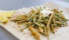 Healthy Hacks: Oven-Baked Green Bean Fries With Garlic Aioli but without the aioli for me...
