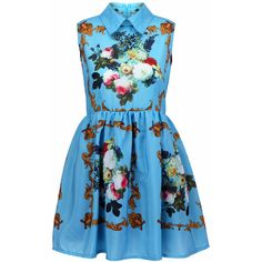 Retro Printing Blue Dress ($38) ❤ liked on Polyvore featuring dresses, vestidos, blue, romwe, zip dress, blue sleeveless dress, retro-inspired dresses, no sleeve dress and retro day dresses