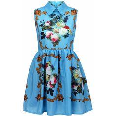 Retro Printing Blue Dress ($38) ❤ liked on Polyvore featuring dresses, vestidos, blue, romwe, zip dress, blue sleeveless dress, retro-inspired dresses, no sleeve dress and retro day dresses