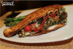 Balsamic Chicken Stuffed with Provolone, Spinach & Roasted Red Peppers | Something to be Savored