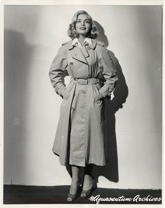 American Actress Lizabeth Scott wearing her Aquascutum trench in Stolen Face in…