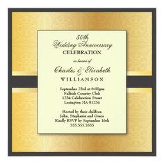 Elegant Photo 50th Wedding Anniversary Party Invite