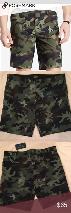 🎉HP 🎉Polo Ralph Lauren Mclassic Heritage  Short 💯authentic Polo Ralph Lauren Mclassic Heritage Camouflage Shorts NWT Quick drying 4 way stretch fabric zip fly with button closure belt loops 2 front angled mesh lined pockets 1 back right button pocket.  Beach short with Camouflage pattern & iconic embroidered pony above back pocket.  Hardware still in factory wrapping Never been worn Polo by Ralph Lauren Shorts
