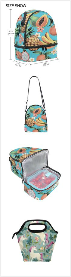 6e5ce36986 Watercolor Tropical Pineapple Banana Flower Blue Portable Shoulder Double Lunch  Box Bag Insulated Lunch Tote Outdoor