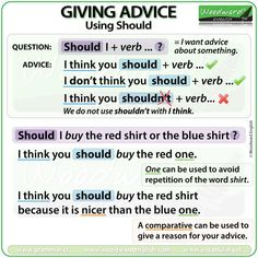 Giving advice in English using the modal verb SHOULD. Also using comparatives with SHOULD to give a reason for your advice. English Grammar Tenses, English Verbs, Learn English Grammar, Learn English Words, English Vocabulary, English Teaching Materials, English Writing Skills, Teaching English, Teaching Spanish