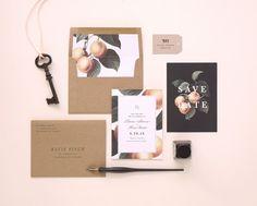 Southern Peach Wedding Invitation and por rachelmarvincreative