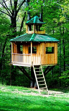 A board and batten treehouse with ondura roofing. Cupolas are always cool too!