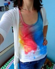 Rainbow Splash Tank- great project for Tumble Dye Spray Dyes