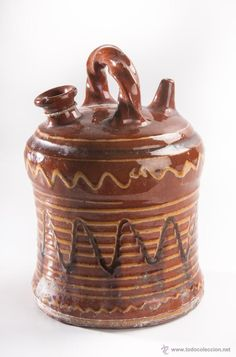 BOTIJO DE TERRACOTA VITRIFICADA (Antigüedades - Porcelanas y Cerámicas - España - Botijos Antiguos)