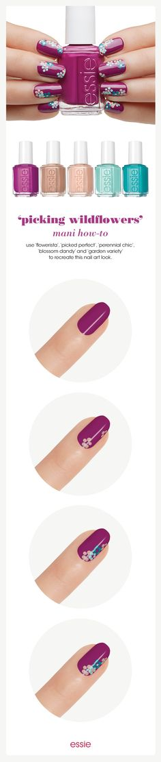Picking Wildflowers Nail Art Tutorial by Essie Looks. Create a statement at-home manicure with this chic, spring floral nail art design. Fancy Nails, Trendy Nails, Diy Nails, Essie, Flower Nail Art, Art Flowers, Pink Flowers, Pretty Flowers, Manicure E Pedicure