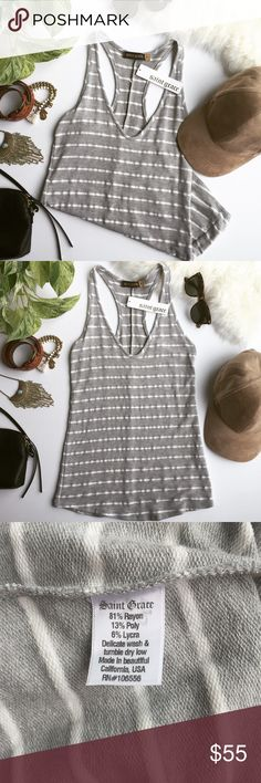 Saint Grace Grey & White Striped Racerback Tank A must-have wardrobe basic. Perfect to layer with other favorites or wear as is! This tank is a medium weight fabric, lovely for adding extra warmth to chill fall days. 🍂Bundle & Save🍂 Saint Grace Tops Tank Tops