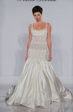 Square Mermaid Wedding Dress  with Dropped Waist in Silk. Bridal Gown Style Number:32417594