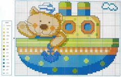 Gráficos de Ponto Cruz: Gráfico ponto cruz infantil gatinho no trênzinho, carrinho e avião