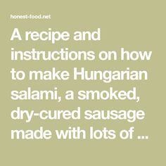 A recipe and instructions on how to make Hungarian salami, a smoked, dry-cured sausage made with lots of paprika and garlic. Salami Recipes, Hungarian Paprika, How To Make Sausage, Charcuterie, Garlic, Timeline, Depression, Food, Essen