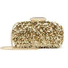 Oscar de la Renta Embroidered Lamé Goa Clutch (€1.790) ❤ liked on Polyvore featuring bags, handbags, clutches, sparkly purses, brown purse, chain strap purse, brown handbags and clear handbags