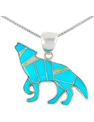 """Coyote Wolf Necklace 925 Sterling Silver Genuine Turquoise & Lab Opal Pendant with 24"""" Chain"""