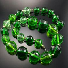 Vintage Coro Necklace Lime Green Faceted Graduated Beads Estate Jewelry