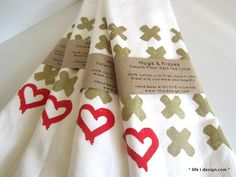 Stunning gold hugs and a red heart screen printed huge flour sack kitchen towels now available in the shop! www.lifeidesign.com