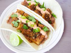 Tequila Lime Baked Tofu Tacos with Chipotle Crema - Yup, it's Vegan