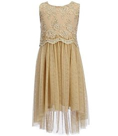 4cf21953868 Amazon.com  Bonnie jean Big Girls Sleeveless Gold Metallic lace Popover  Hi-Low Party Dress