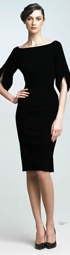 Zac Posen ● Black Split-sleeve Dress. Modest doesn't mean frumpy. https://www.facebook.com/ColleenMHammond