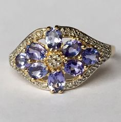 Vintage Tanzanite Ring. Diamond Accents.  14k Yellow Gold. Estate Jewelry. Unique Engagement Ring. December Birthstone. 24th Anniversary.