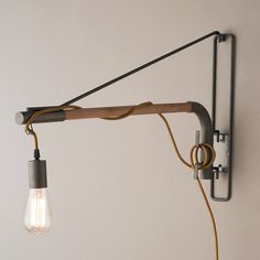Industrial Exposed Bulb Swinging Wall Light iron