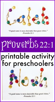 """This Proverbs activity for preschoolers is quick and easy. Using gold glitter glue & jewels to make """"a good name is more desirable than great riches. Bible Activities For Kids, Preschool Bible, Bible Study For Kids, Bible Lessons For Kids, Preschool Lessons, Preschool Activities, Preschool Classroom, Preschool Writing, Kids Bible"""