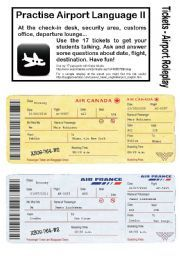 English worksheet: No.2 - AIRPORT/HOLIDAY LANGUAGE GAME- 17 Tickets - Roleplay…