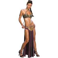Womens Star Wars Leia Slave Costume (83 CAD) ❤ liked on Polyvore featuring costumes, halloween costumes, multicolor, sexy warrior costume, sexy women costumes, egyptian costume, slave leia costume and sexy egyptian costume