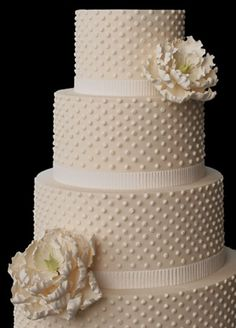 I like this cake, with real flowers, brighter white color, and layered wedding color ribbon