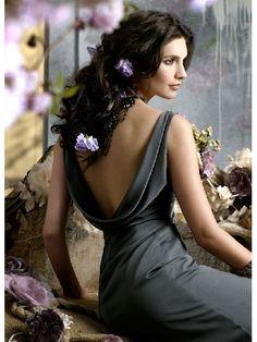 Wholesale Cheap Cheap Magic Grey Floor Length V-neck Sexy Straps Elegant Bridesmaid Dress