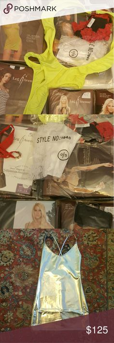 """30 pc Lingerie and Swimsuit Wholesale Bundle Sizes mostly one size fits. Few opened not worn. Great way to start business online. 1 Silver Metallic Dress, 1 Neon Bathing Suit, 1 Mesh Tube Dress (can be used as coverup) & 1 G string, 1 Red Garter Belt, 1 White Garter Belt, 1 """"Love"""" Thong, 2 pc 1 Fancy Panty & 1 Bra Set 2 pc 1 Lace Halter Dress & 1 G String 2 pc 1 Lace Long Dress & 1 G-string  1 Checkered Halter Dress 4 pc Pussy Cat Costume  1 Cami & 1 G String 3 Bodystockings,4 tigh hi, 3…"""