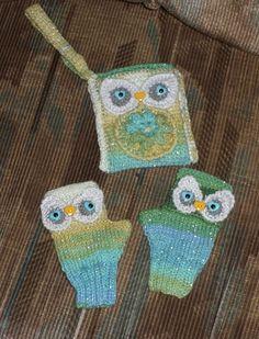 OWL BUCKLE WRIST PURSE W/ MATCHING FINGERLESS GLOVES..STUDENT TO ADULT SIZING,  #Handmade #Fingerless