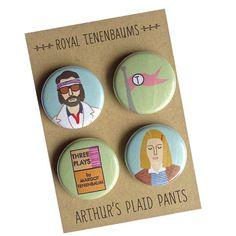Royal Tenenbaums - Richie and Margot - Wes Anderson badges by Arthur's Plaid Pants © Arthur's Plaid Pants