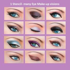 """ONE SET """"QUICK MAKE-UP STENCILS"""" INCLUDES 3 IDENTICAL STENCILS AND A MANUAL WITH """"STEP BY STEP""""-PHOTOS! If you still find it hard to put your eyeline right, if you are in a hurry in the morning and have no time for the perfect makeup, Quick makeup stencils is for you !   eBay!"""