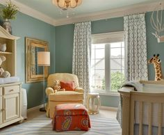 Love the old fashion colors! Blue Gold Paint http://www.wayfair.com/IdeaLounge/InspiredBy/Decorating-a-Gender-Neutral-Nursery-E493