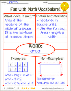 how to use the Frayer Model to reinforce math vocabulary in your classroom (and receive a FREE printable!)Learn how to use the Frayer Model to reinforce math vocabulary in your classroom (and receive a FREE printable! Maths Guidés, Math Classroom, Teaching Math, Math Fractions, Math Games, Math Vocabulary Wall, Ks3 Maths, Teaching Measurement, Vocabulary Notebook