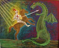 Saint George and the Dragon blackboard drawing